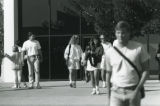 Students leaving Elkins Auditorium, 1988