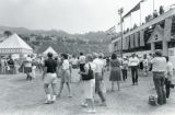 Spectators outside of an Olympic water polo match at Pepperdine University, 1984