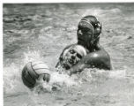 Terry Schroeder battles for the ball in Olympic water polo, 1984