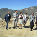 Ronald Reagan and group tour campus during Pepperdine University tree planting dedication, 1973