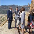 Ronald Reagan and group tour campus construction during Pepperdine University tree planting...