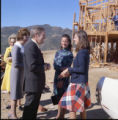 Frank Shakespeare in discussion during tour of Brock House construction, 1973