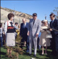 Ronald and Nancy Reagan during Pepperdine University tree planting dedication, 1973