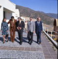 Group touring campus during Pepperdine University tree planting dedication, 1973