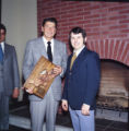 Ronald Reagan with Nathan Lane at reception following Pepperdine University tree planting...