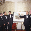 Ronald Reagan and others with Malibu campus rendering at Pepperdine's Birth of a College dinner,...