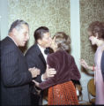 Ronald Reagan greets guests at Pepperdine's Birth of a College dinner, 1970