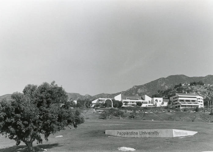 View of Pepperdine University from PCH, 1988 - University Archives